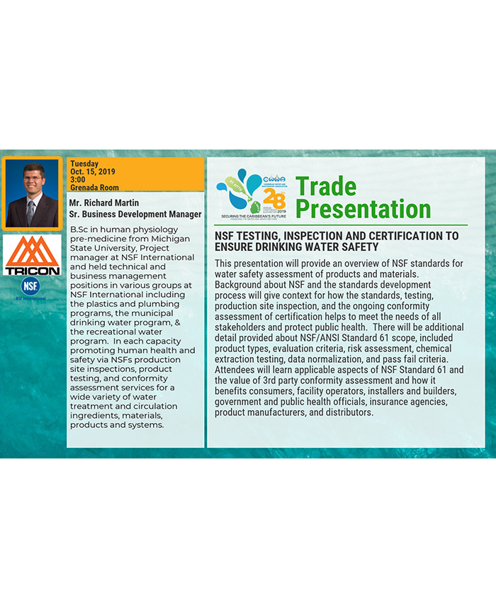 Trade Presentation - NSF testing, inspection and certification to ensure drinking water safety